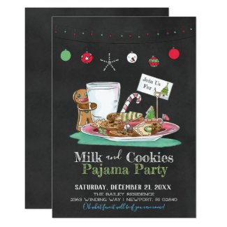 Milk and Cookies Pajama Party Invitation