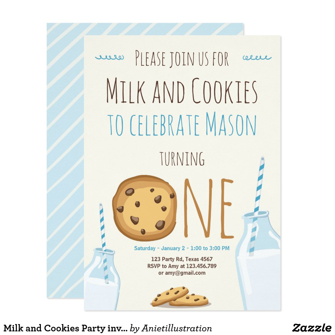 Milk and Cookies Party invitation Boy Birthday