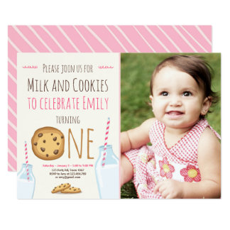 Milk and Cookies Party invitation Girl Birthday