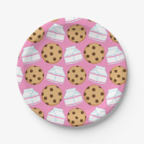 Milk and Cookies Pattern Paper Plate
