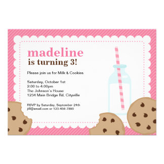 Milk and Cookies Pink and Brown Invite