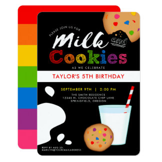 Milk and Cookies Rainbow Birthday Party Card