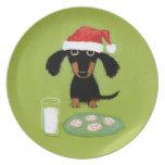Milk and Cookies Santa Dachshund - Cute Dog Melamine Plate