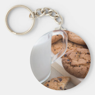 Milk and oatmeal cookies with chocolate keychain