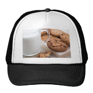 Milk and oatmeal cookies with chocolate trucker hat