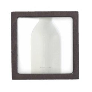 Milk bottle on white background premium trinket box