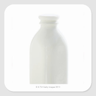 Milk bottle on white background square sticker