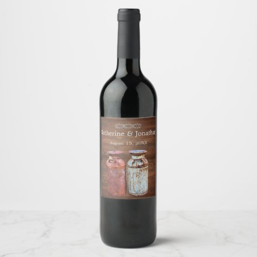 Milk Cans Country Wedding Wine Label