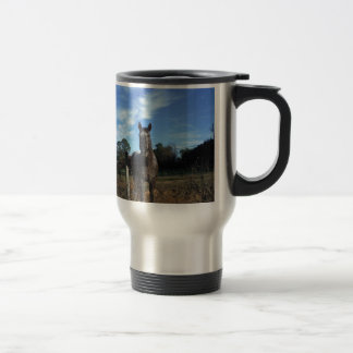 Milk Chocolate Brown Horse in Blue Travel Mug