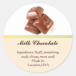 Milk Chocolate Flavor Labels Classic Round Sticker