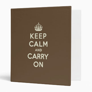Milk Chocolate Keep Calm and Carry On 3 Ring Binder