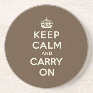 Milk Chocolate Keep Calm and Carry On Beverage Coasters