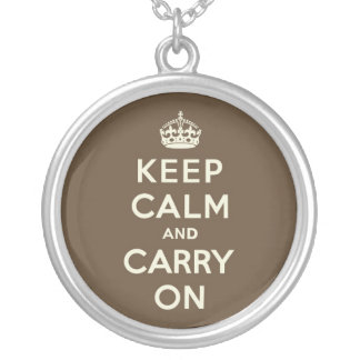 Milk Chocolate Keep Calm and Carry On Round Pendant Necklace