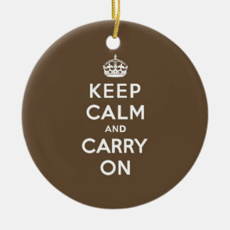 Milk Chocolate Keep Calm and Carry On Round Ceramic Decoration