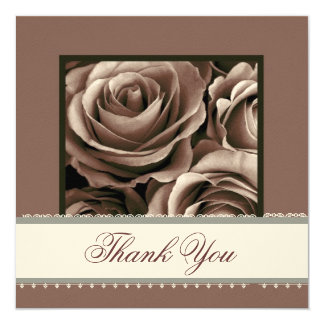 MILK CHOCOLATE Roses Lace Ribbon Wedding Thank You Card