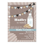 Milk & Cookies Birthday - Chocolate Chip Blue 5x7 Paper Invitation Card