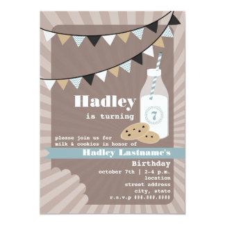 Milk & Cookies Birthday - Chocolate Chip Blue Custom Announcements