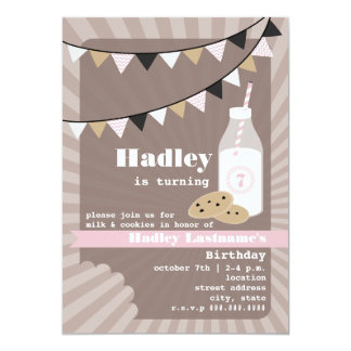 Milk & Cookies Birthday - Chocolate Chip Pink Card