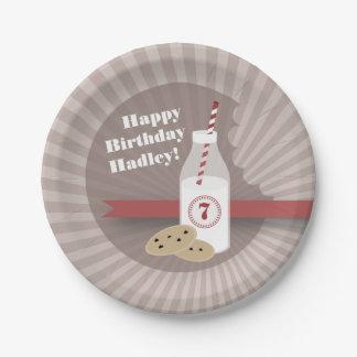 Milk + Cookies Birthday - Chocolate Chip Red Paper Plate