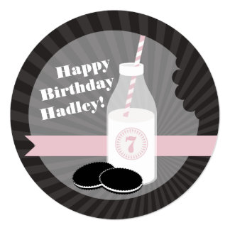 Milk & Cookies Birthday Chocolate Round Pink Card
