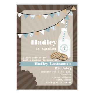 Milk & Cookies Birthday - Fudge Striped & Blue Card