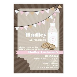 Milk & Cookies Birthday - Fudge Striped & Pink Card