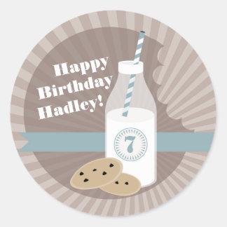 Milk Cookies Birthday Sticker Chocolate Chip Blue
