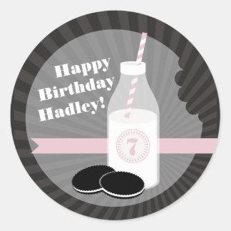 Milk + Cookies Birthday Sticker Chocolate + Pink