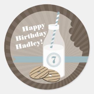 Milk + Cookies Birthday Sticker Striped + Blue