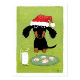 Milk & Cookies Dachshund Holiday Postcard