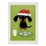 Milk & Cookies Dachshund Holiday Poster
