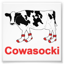 Milk Cow in Socks - Cowasocki Cow A Socky Photo Print