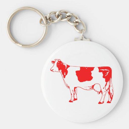 Milk Cow Silhouette Beef Cattle Moo Bull Steer Keychain