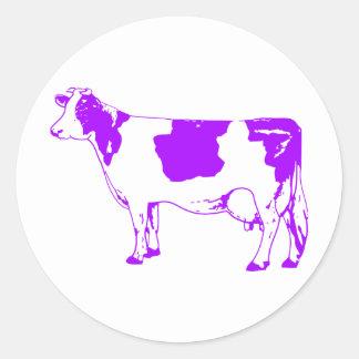 Milk Cow Silhouette Beef Cattle Moo Bull Steer Round Sticker