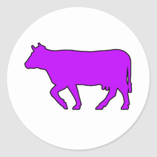 Milk Cow Silhouette Beef Cattle Moo Bull Steer Round Stickers