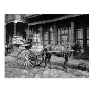 Milk Delivery Cart, 1903 Postcard