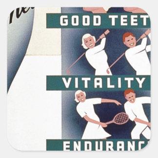 Milk - for health, good teeth, vitality, endurance square sticker
