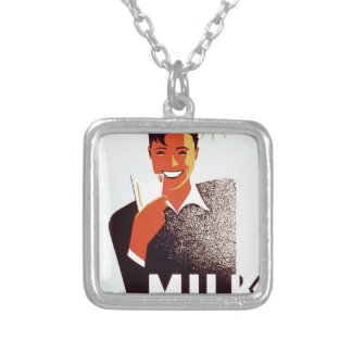 Milk - for summer thirst square pendant necklace