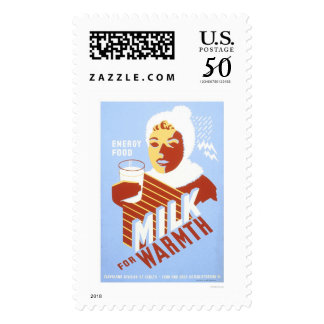 Milk For Warmth Energy 1941 WPA Postage