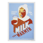Milk For Warmth Energy 1941 WPA Poster