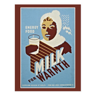 Milk For Warmth Energy Food WPA Post Card