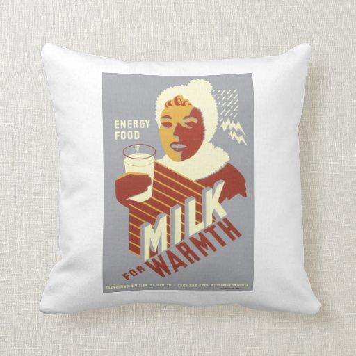 Milk for Warmth Throw Pillows