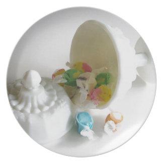 Milk Glass Candy Dish Dinner Plate