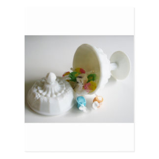 Milk Glass Candy Dish Postcard