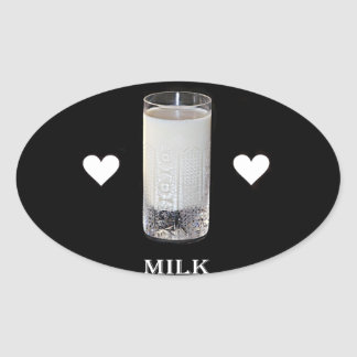 Milk (Hearts) Oval Sticker