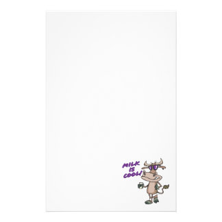 milk is cool funny cute cow cartoon stationery