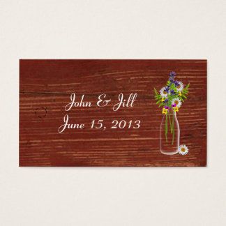 Milk Jar Of Wildflowers Wedding Hang Tag