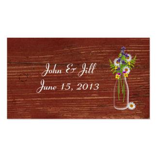 Milk Jar Of Wildflowers Wedding Hang Tag Business Card Templates