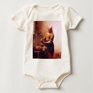 Milk maid by Johannes Vermeer Baby Bodysuit