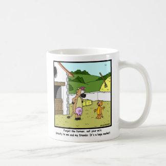 Milk Market: Cow & Cat Cartoon Coffee Mug